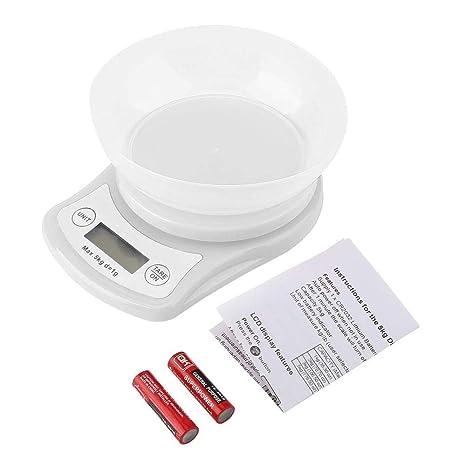 ZHANGYUGE Moderno y Ligero diseño Balanza de Cocina electrónica con cubeta Desmontable Soporte Apagado automático y