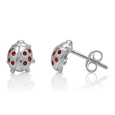 b45c20fec Image Unavailable. Image not available for. Color: 925 Sterling Silver Red  Little Lucky Ladybug 10 mm Post Stud Earrings