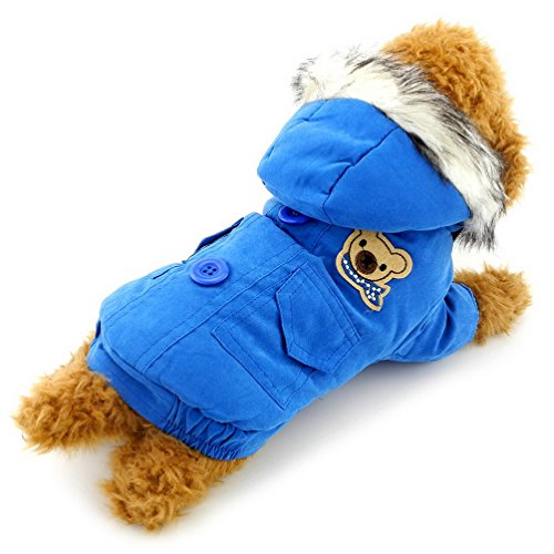 SELMAI Fleece Lined Dog Coat Pattern Scarf Bear Pet Hoodies Warm Dog Jackets Winter Small Cat Puppy Clothes Blue XXL - Fido Fleece Coats