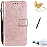 iPhone X case,TOUCASA PU Leather Wallet Magnetic Case Card Slots Cash Holder Kickstand Flip Book Case with Snowflake in Sunshine Design for Apple iPhone X + Free Touch Stylus Pen & Dust Plug-Rose Gold