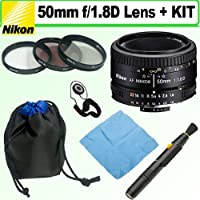 Nikon 50mm f/1.8 AF Nikkor Lens w/ 52mm Filter Kit & Lens Pouch Bundle