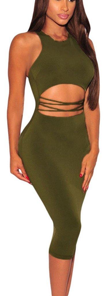 Lukis Damen Bauchfrei Etuikleid Party Abend Cocktail Kleid Knielang Grün:  Amazon.de: Bekleidung