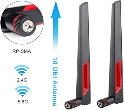 2 Wireless Antenna 9DBI RP-SMA 2.4G 5G Wi-Fi Booster For Router Network Pc