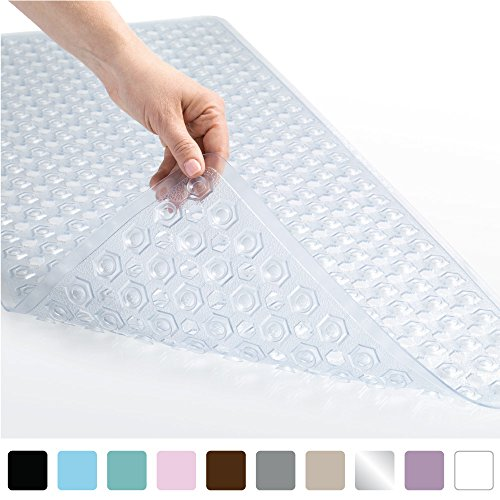 Gorilla Grip Original Patented Bath, Shower, Tub Mat (35x16) Machine Washable, Antibacterial, BPA, Latex, Phthalate Free, Bathtub Mats with Drain Holes, Suction Cups, XL Size Bathroom Mats (Clear)