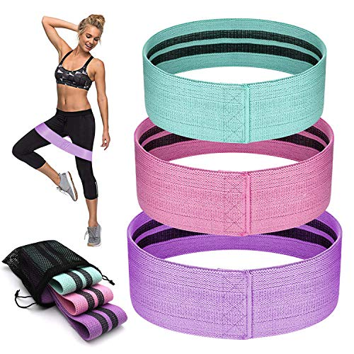 APOLLED Resistance Bands for Legs and Butt,Non Slip Exercise Bands,Elastic Booty Bands,Fabric Sports Fitness Bands,3 Levels Workout Band for Women/Men Squat Glute Hip Training