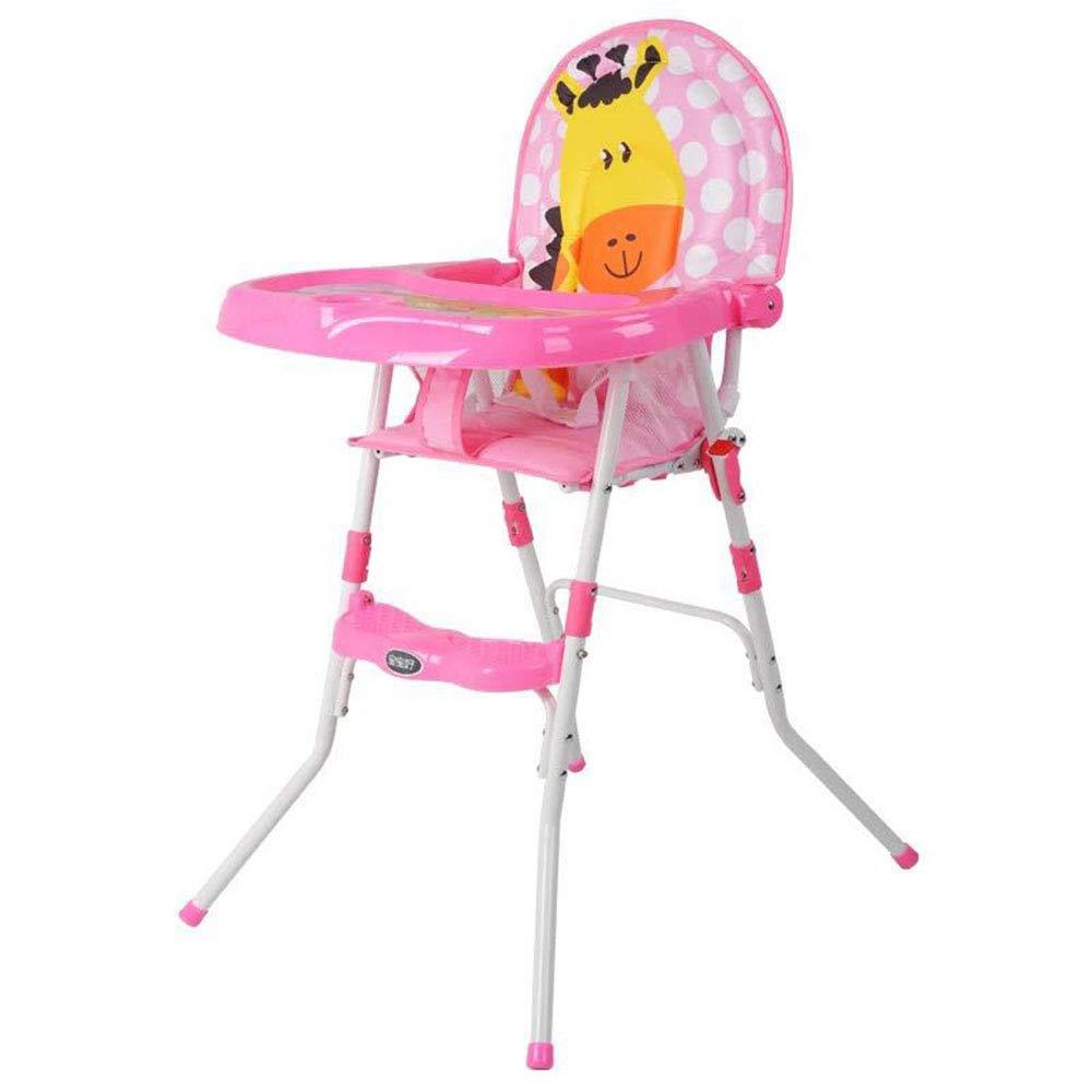 HTOOLA Silla de Comedor para niños Silla Ligera de bebé BB Mesa de Comedor Plegable y Ajustable,A