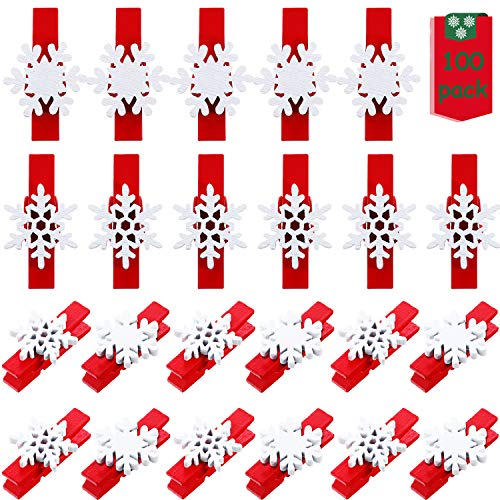 Blulu 100 Pieces Christmas Wooden Clothespins Mini Snowflake Clips Photo Clothespin for Christmas Wedding Hanging Pictures Paper Craft