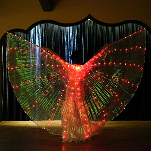 Jeash Women LED Belly Dance Wings Colorful Butterfly Wings with Telescopic Stick Dance Costumes Glowing Performance Clothing (Red)]()