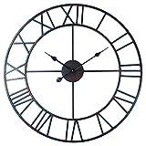 Roman Round Clock, Timelike Handmade 76cm Large Wall Clock Wrought Metal Wall Art Hanging Decorative Wall Sculpture Decor