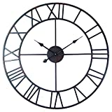 Roman Round Clock, Timelike Handmade 76cm Large Wall Clock Wrought Metal Wall Art Hanging Decorative Wall Sculpture Decor