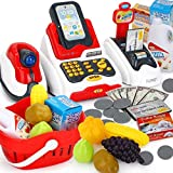 Toy Cash Register with Checkout Scanner Fruit Card Reader Cash Register with Lights ,Credit Card Machine,Food Shopping Play Set for Kids