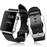 Apple Watch Band with Metal Clasp, Jisoncase® Luxury Genuine Leather Crocodile Patterns Watchband Real Cowhides Replacement Wrist Strap with Stainless Steel Classic Buckle for iWatch 42 mm - Black