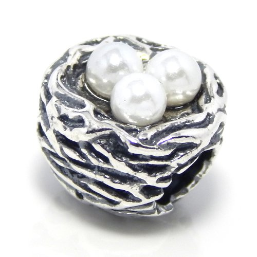 "Pro Jewelry .925 Sterling Silver ""Bird's Nest w/ Syn Pearl Eggs"" Charm Bead for Snake Chain Charm Bracelets"
