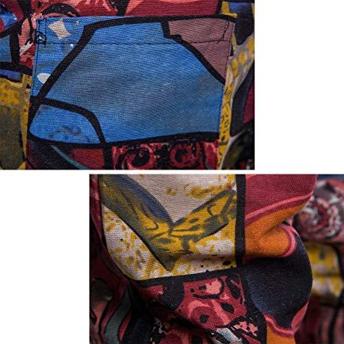 Lino Teens Plus Fantasia Tessuto Stampato Pantaloni Rosso Da Completo In Sportivo Retrò Casual Sportivi Traspirante Uomo qwqgFXE
