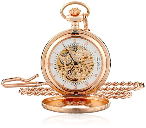 Charles-Hubert, Paris Rose Gold-Plated Mechanical Pocket Watch (Rose Gold Plated Watch)