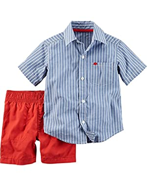 Baby Boys Denim Stripe & Red Short Set