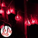 Solar String Lights, Aolvo 23ft 50 LED Outdoor Crystal Ball Fairy Lights, Waterproof Nautical Globe Vine Starry String Lights, Colored Solar Powered Decoration Lights for Patio Christmas - Red