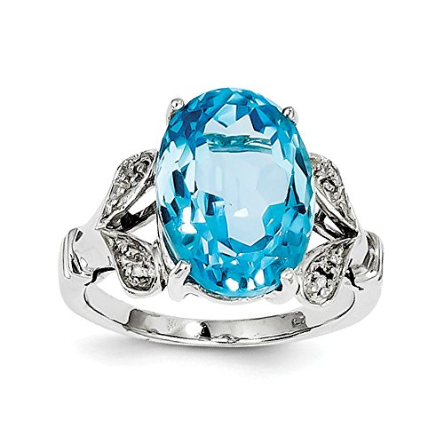 925 Sterling Silver 6.7CT Oval Cut Swiss Blue Topaz and Diamond Solitaire Ring Size 6