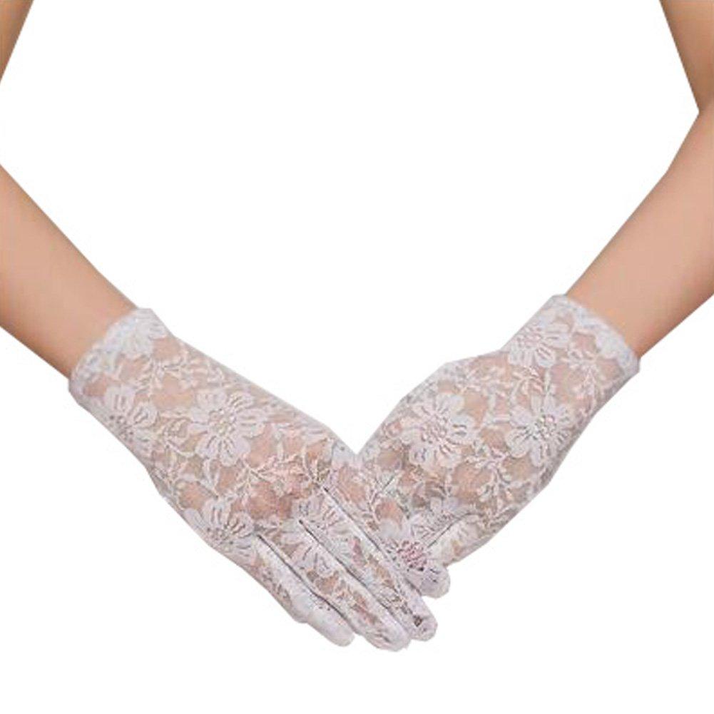 Elegant Lady Formal Banquet Party Bride Pierced Lace Wedding Gloves Bridal Gloves, NO.2