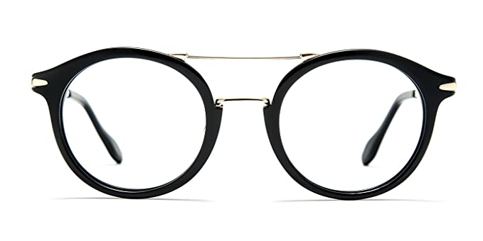 735de809c9 TIJN Women Retro Acetate Double-bar Round Eyeglasses with Clear Lens   Amazon.co.uk  Clothing