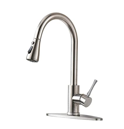 Incroyable HOMY Kitchen Faucets With Pull Down Sprayer, SUS304 Stainless Steel Brushed  Nickel, Hot U0026