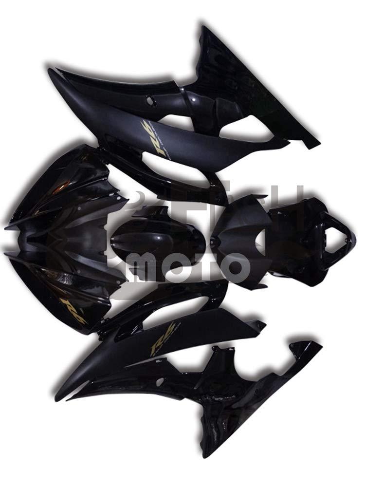 FlashMoto yamaha ヤマハ R6 YZF-600 2008 2009 2010 2011 2012 2013 2014 2015用フェアリング 塗装済 オートバイ用射出成型ABS樹脂ボディワークのフェアリングキットセット ブラック   B07LF14F9B