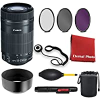 Canon EF-S 55-250mm f/4-5.6 IS STM Lens. With 3 Piece Filter Kit, Blower, Lens Hood, Lens Pen, Case, Cleaning Cloth