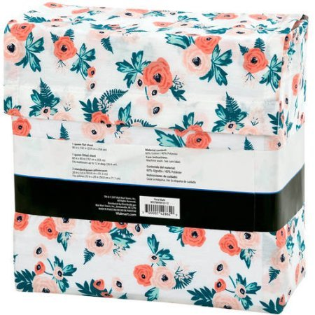 Mainstays ''Back to School'' 180 Thread Count Sheet Set, Fun & Modern! Your Favorites- Florals, Llama, Pineapples, Cactuses, Geometric Triangles! Flat, Fitted, & Pillowcase Set! (Queen, Floral)