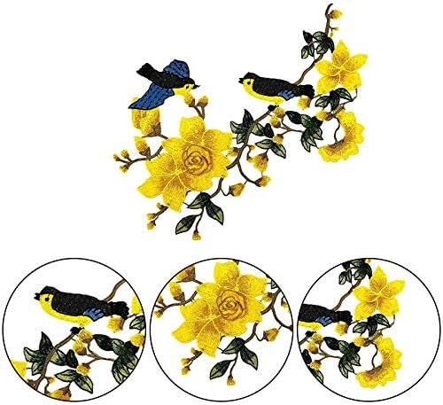 Fablcrew 1 Pi/èce /Écusson Brod/é Patch Thermocollant en Forme de Fleur et Oiseau Autocollant Tissu Appliqu/é Brod/é DIY pour T-Shirt Jeans V/êtement Sac