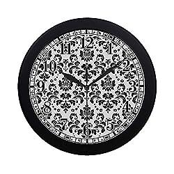 InterestPrint Elegant Damask Black and White Floral Large Number Wall Clock, Modern Quartz Decorative Wall Clock for Living Room & Home & Office School, Black