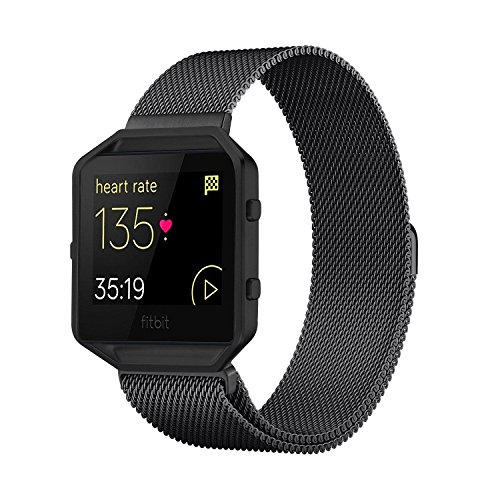 Andyou Fitbit Blaze Band with Frame, Stainless Steel Replacement Adjustable Band with Metal Frame for Fitbit Blaze Women Men,Black
