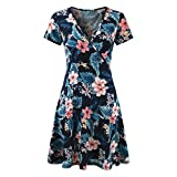 Mini Dress,Women's V-Neck Cap Sleeve Floral Print Casual Work Stretch Swing Dress (Blue, S)