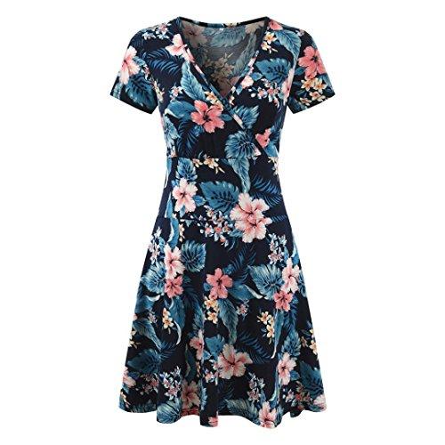 Mini Dress,Women's V-Neck Cap Sleeve Floral Print Casual Work Stretch Swing Dress (Blue, S) by Shybuy