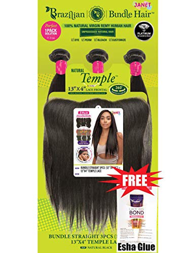 Janet Collection Virgin Remy Human Hair 13x4 Temple Lace & 3PCS Weave Bundle - STRAIGHT + Free Esha Absolute Glue(Travel Size) (16/18/20, Natural Black) - Janet Collection Hair Weave