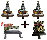 Lulu Decor, 100% Cast Iron Combo Deal, Decorative 6 stocking holders, includes 3 Christmas Trees, 1 Merry Christmas & 1 Bell (Combo deal Tree with MC & Bell)