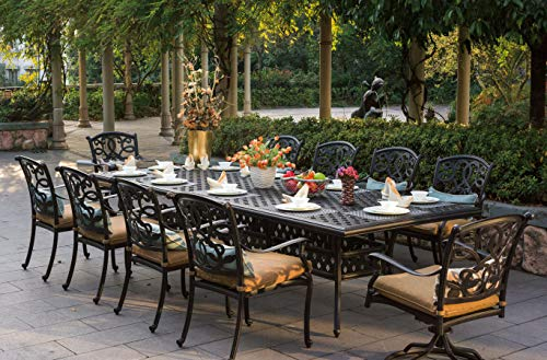 Patio Dining Set. Modern, Outdoor Furniture Kit Of Cast Aluminum Frames For Porch, Lawn, Pool, Garden, Balcony Diner, Seating 10 Person. Outside, Rectangle Table, Chairs With Cushions (Antique Bronze)
