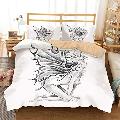 SoSung Tattoo Decor Khaki Duvet Cover Set Twin/Twin XL Size,Artistic Pencil Drawing Art Print Nude Fairy Opening its Angel Wings,Decorative 3 Piece Bedding Set with 2 Pillow Shams,Black and White