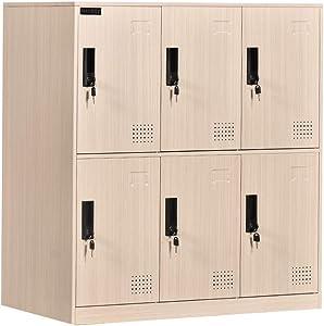 6 Door Locker Office Storage Locker Home and School Storage Organizer Metal Storage Cabinet with Lock for Classroom Gym Kids Room Playroom(Wood Print)