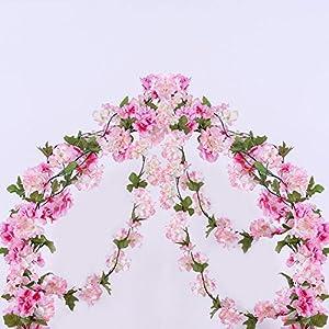 GSD2FF 233cm Artificial Cherry Blossoms Flower Vines Party Supplies Garland Silk Cherry Flower Rattan Wedding Home Decor 10