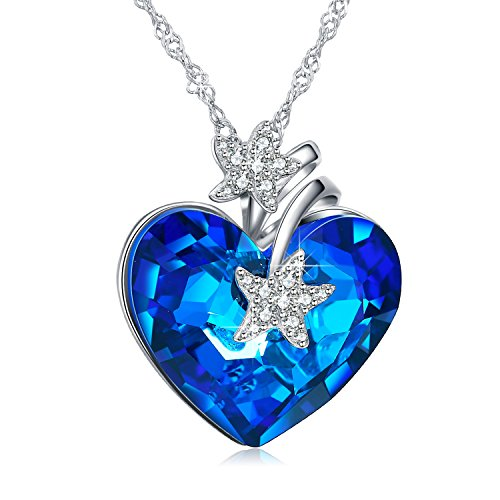 Swarovski Crystal Starfish Necklace (ANCREU Heart Ocean Necklace Love Heart Pendant Necklaces for Women Made with Swarovski Crystals (Starfish))