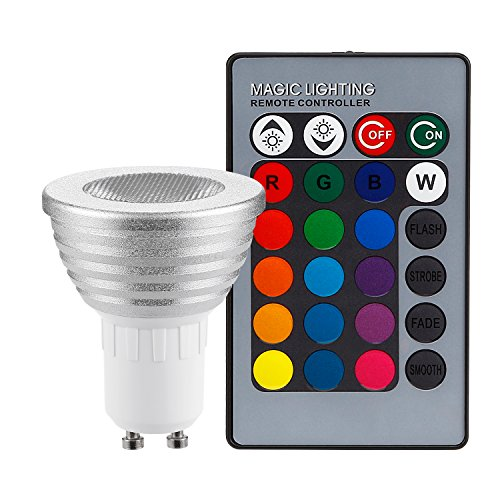 TORCHSTAR 3W Multi-Color GU10 LED Bulbs, Dimmable RGB Spotlight Bulb with Remote Controller, Color Changing Reflector, LED Mood Light Bulbs, for General, Decorative, Accent Lighting - Silver