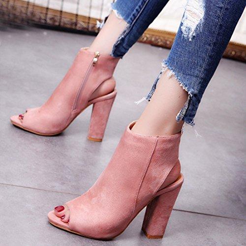 Women's Fashion Peep Toe Party Slingback Shoes Suede High Heel Sandals light pink 8 Xb3zixRlt