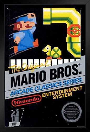 [ProFrames Mario Brothers Arcade Classic Series Nintendo Vintage Box Video Game Framed Poster 12x18] (Video Game Box Art)