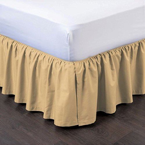 GorgeousHome PLEATED Dust Ruffle Bed Skirt Bedding Bed Dressing Easy Fit Open Corners 14