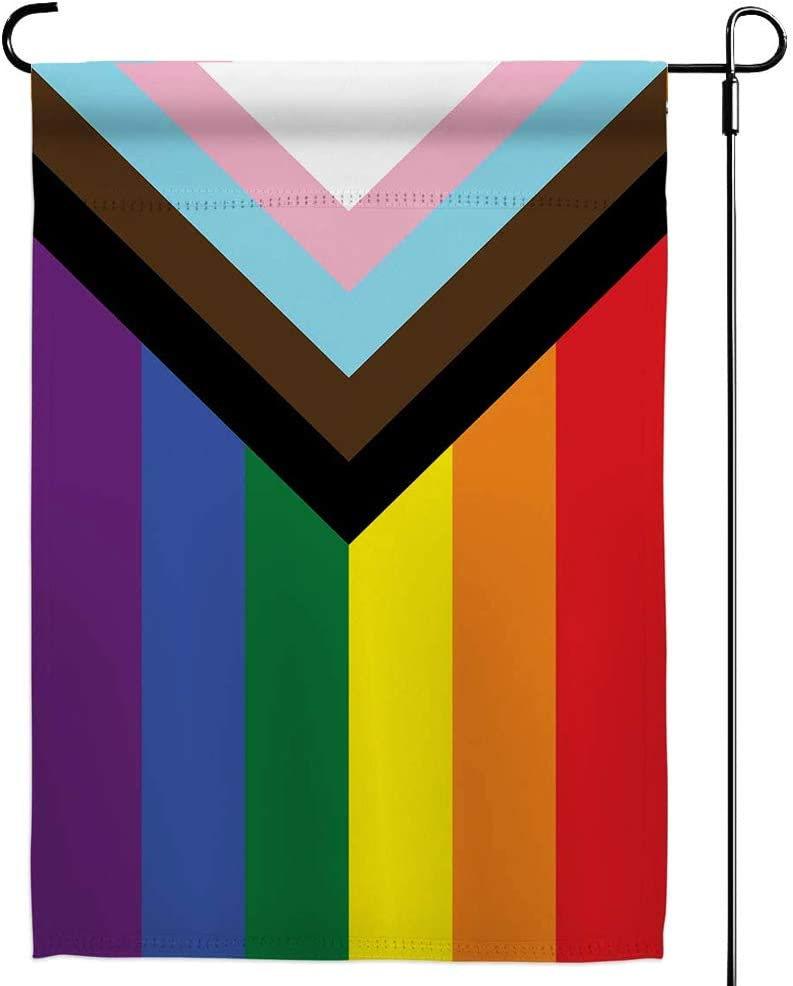 Progress Pride Rainbow Garden Flags - Inclusive Progress Yard Small Flag 12.5x18 Inch for LGBTQ Lesbian Gay Transgender