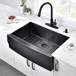 Farmhouse Kitchen HOSINO 33 inch Black Farmhouse Sink, Kitchen Sink 16 Gauge Stainless Steel Apron Sink Curved Front Single Bowl Kitchen… farmhouse kitchen sinks