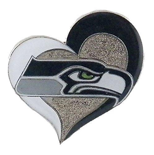 Seattle Seahawks Swirl Heart Pin