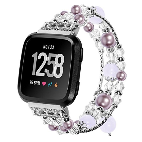 (AutumnFall Fitbit Versa Bands,Replacement Band Fashionable Handmade Beaded Elastic Stretch Faux Pearl Natural Stone Bracelet Strap Wristbands for Women Girl Fitbit Versa Smartwatch (Purple))