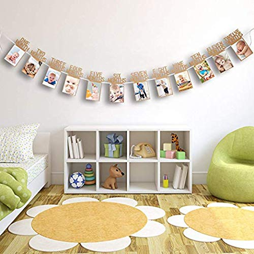 """Baby First Birthday Decorations Banner/""""I AM ONE/""""and 1-12 Months Photo Rope Banner for Baby Girl 1st Birthday Party Supply"""
