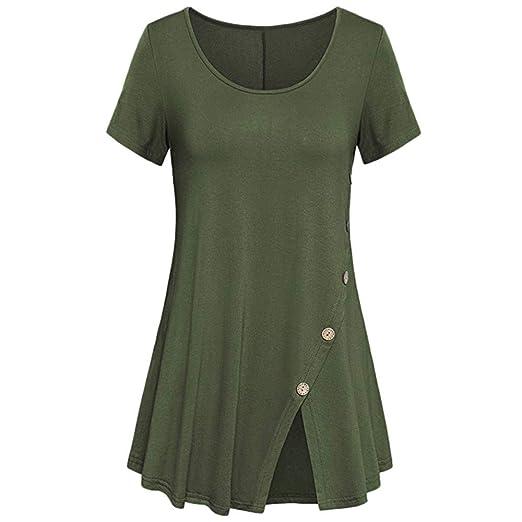 92c67b3e4 Quealent Womens Shirts Casual Tee Shirts V Neck Short Sleeve Button ...